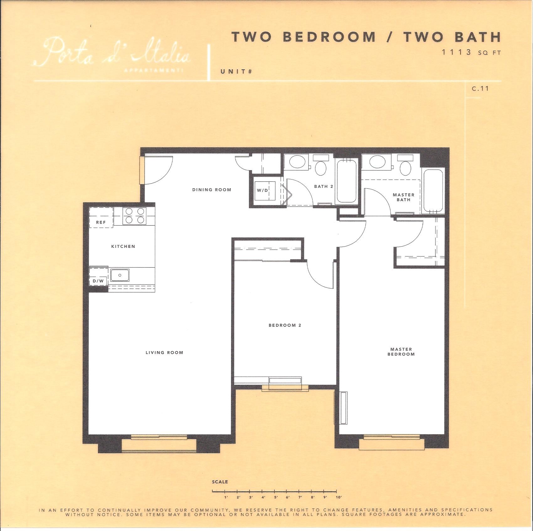 Porta d'Italia Floor Plan – 2 Bedroom